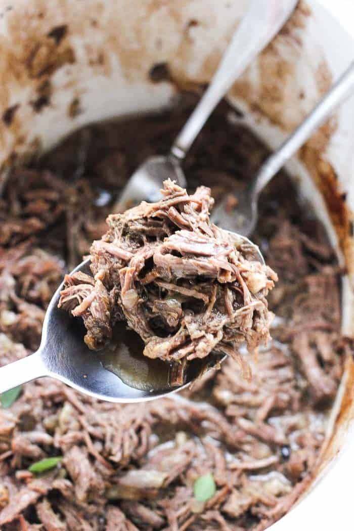 Keto low carb shredded beef recipe that is juicy, flavorful, perfect for lettuce wraps or tacos, burritos and sandwiches if you are not on a low carb diet. Weight watchers friendly. Try this easy healthy crock pot recipe today for dinner!