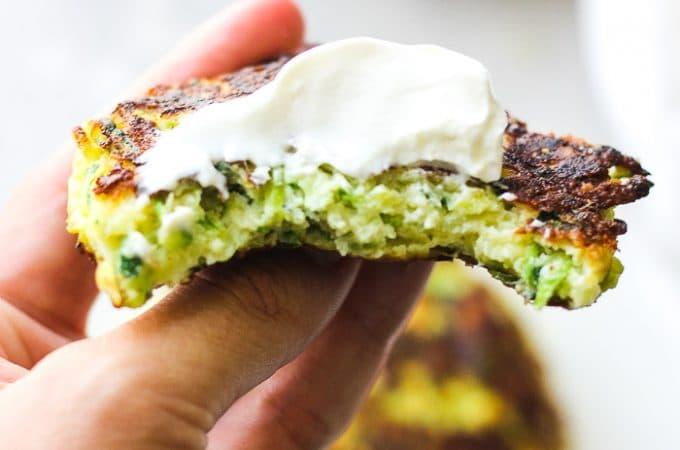 zuzhini pancake in a hand