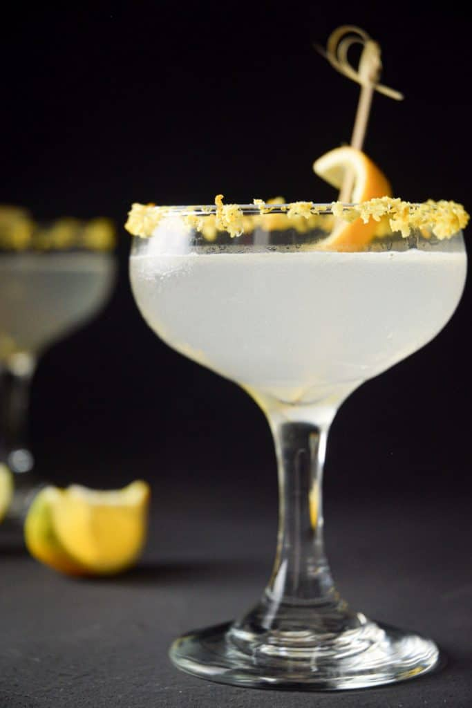 a glass with keto lemon drop cocktail