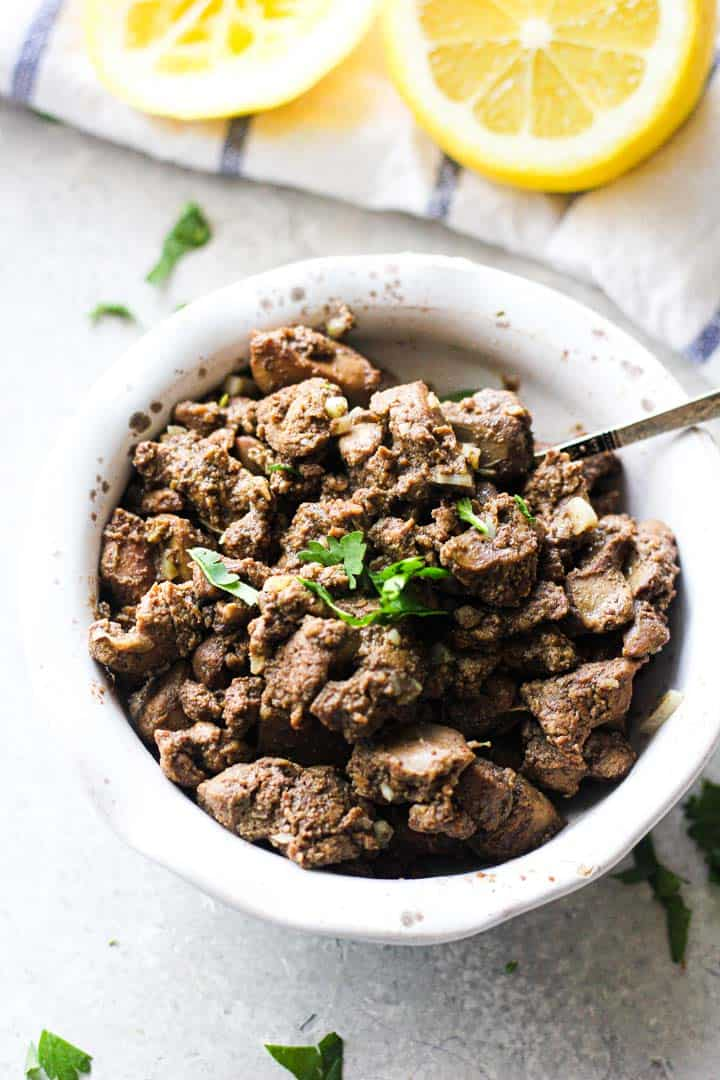 chopped chicken liver in the bowl