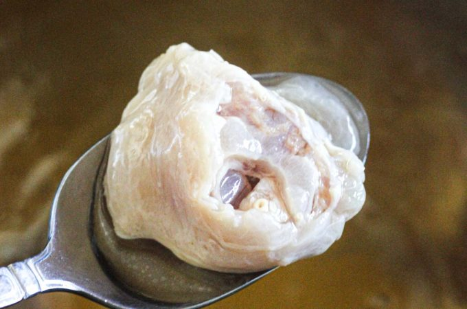 close shot of boiled tendon from the broth