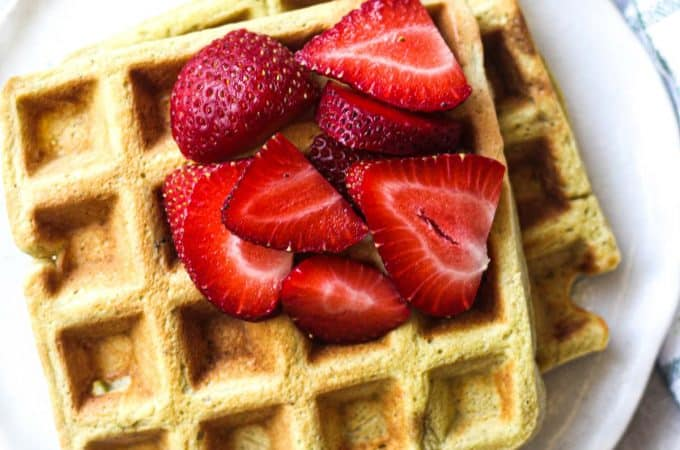featured image of waffles with strawberries, top view