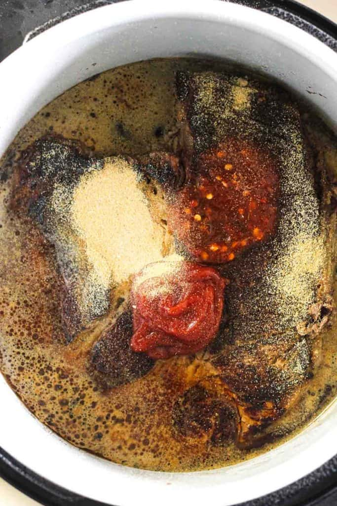 seasoned and browned chuck roast