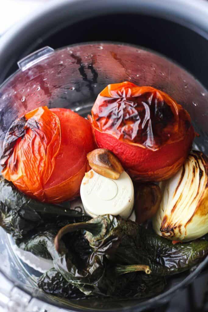 charred roasted veggies in food processor