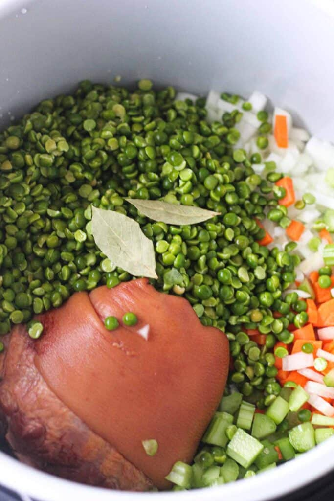 green peas in the pot top shot
