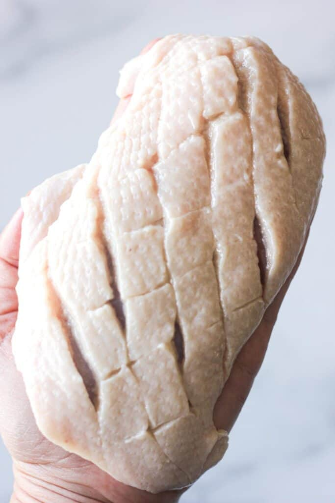 sliced duck breast skin in the diamant pattern