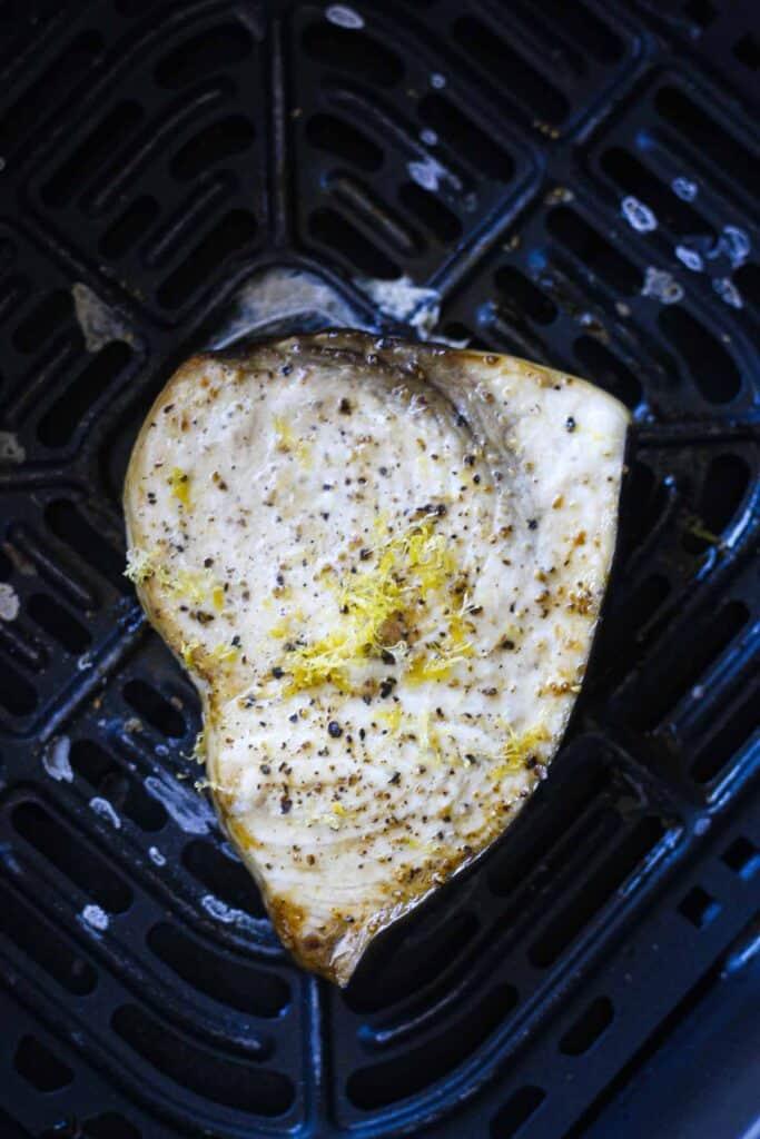 cooked swordfish steak in the air fryer
