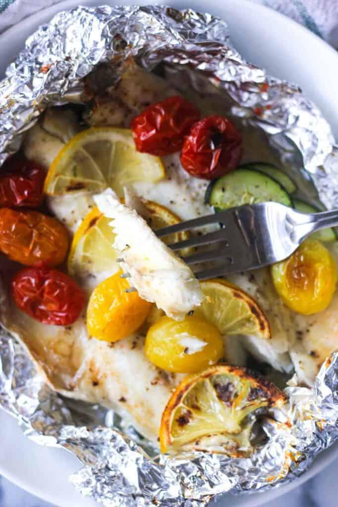 baked branzino fillets in foil with lemon