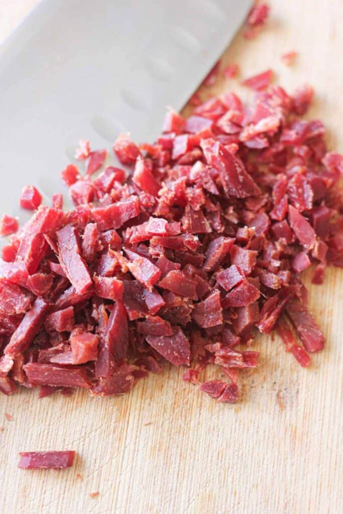 chopped beef jerky on the cutting board