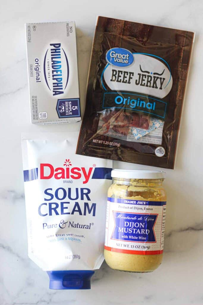 ingredients used in the recipe: sour cream, dijon mustard, cream cheese, beef jerky