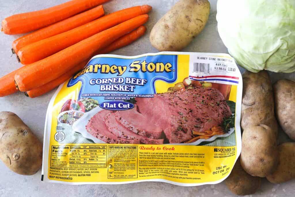 ingredients needed to cook corned beef in ninja cooker- beef, carrots, potatoes, cabbage