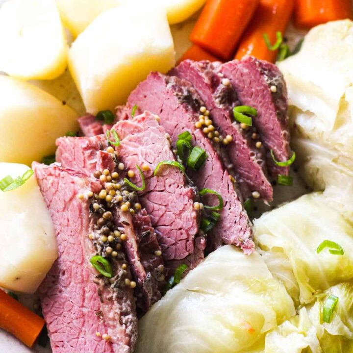 close picture on corned beef with vegetables