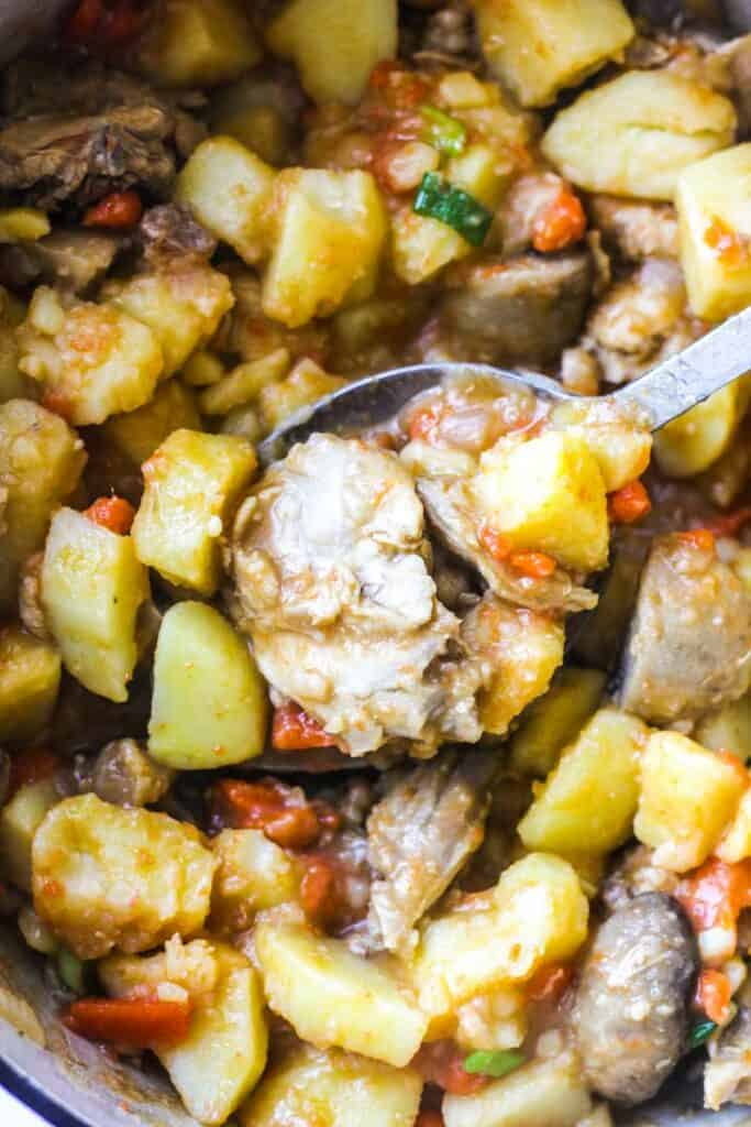 traditional rabbit stew with potatoes carrots and mushrooms cooked together