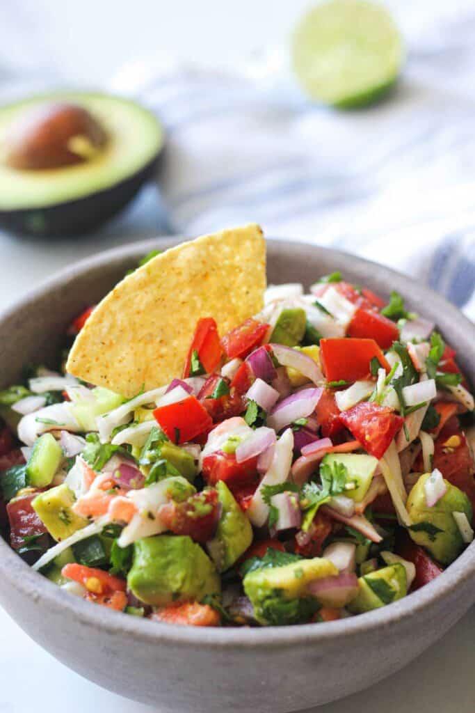 jaiba imitation crab salad ceviche with tortilla chips