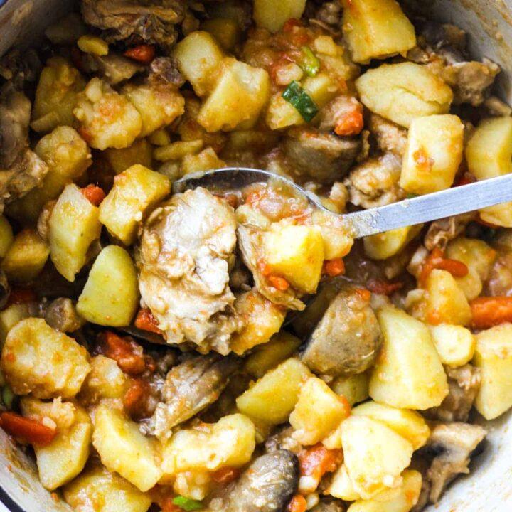 rabbit stew in a pot