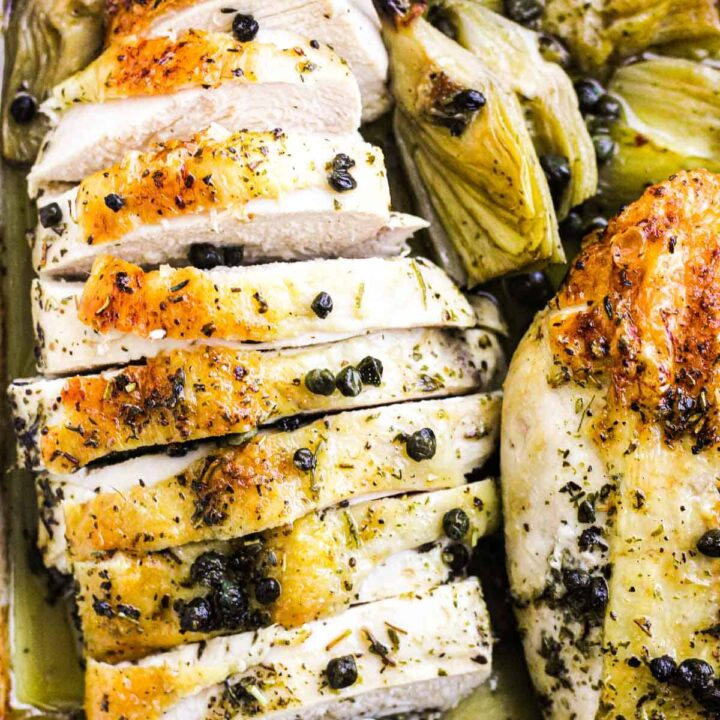 sliced chicken baked in the oven with skin on