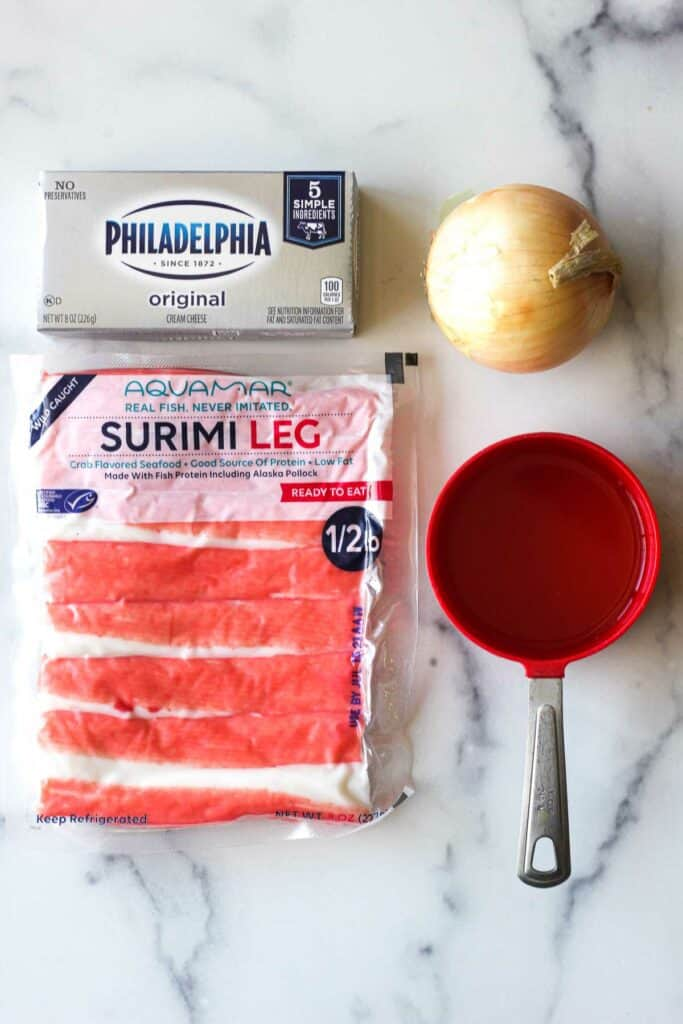 ingredients used in this recipe- imitation crab surimi leg, cream cheese, onion and chicken broth