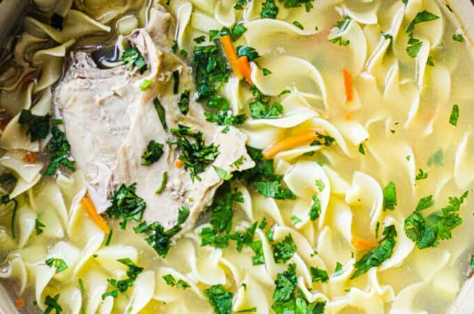 egg noodle soup in a large pot