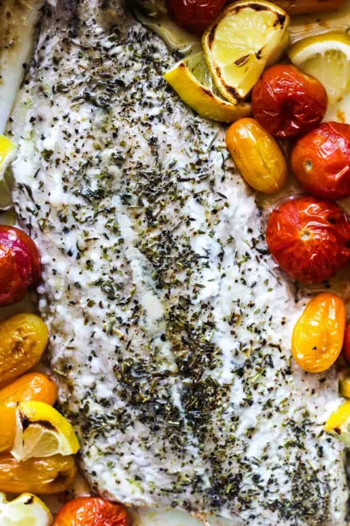 baked bluefish with lemon and tomatoes