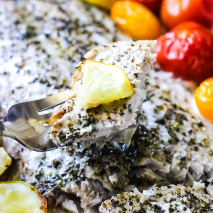 baked fish with cherry tomatoes