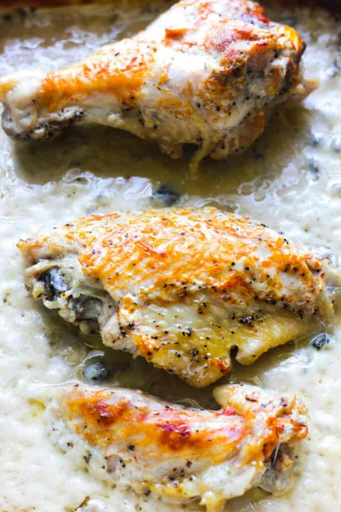 baked wings in mushroom sauce