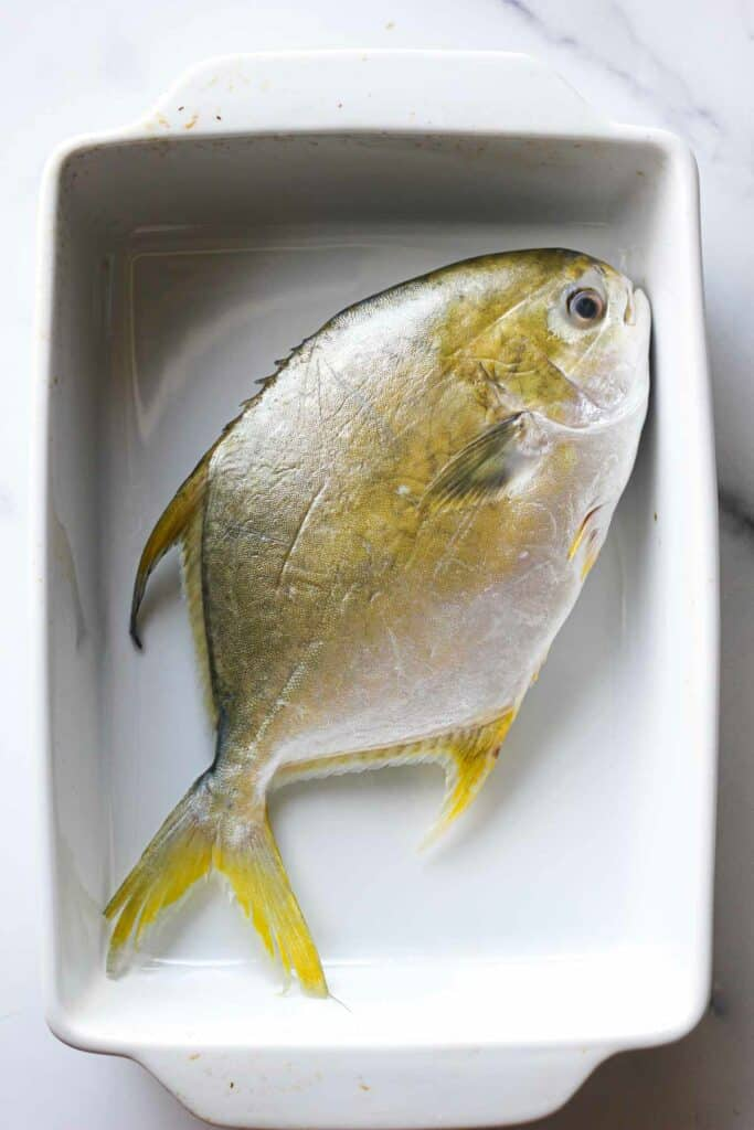 raw whole golden poampano in a baking dish before cooking