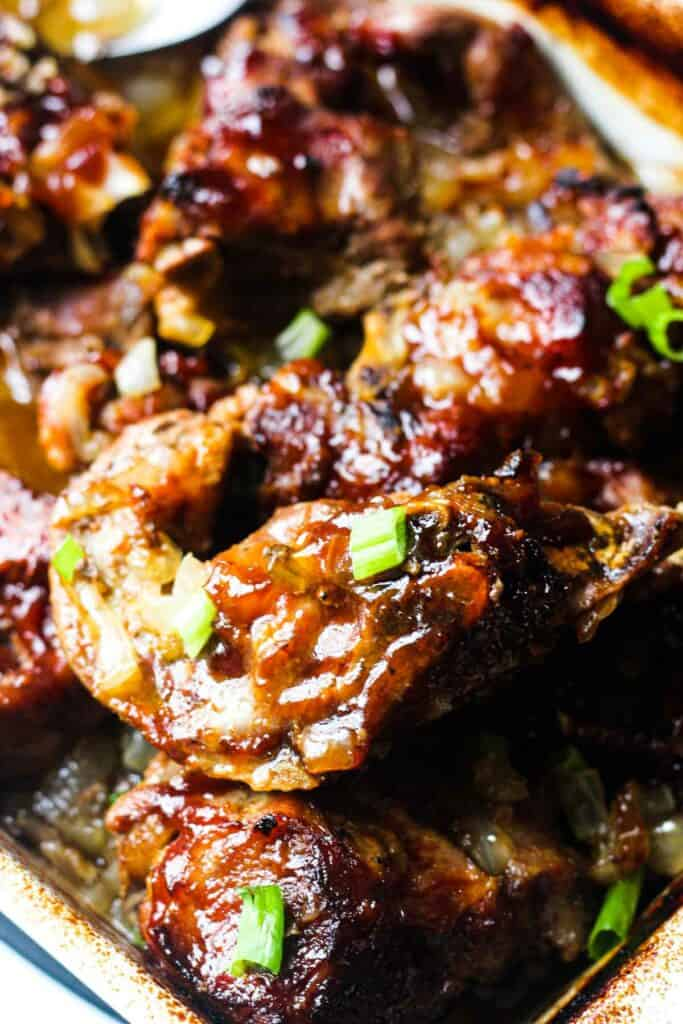 pork pieces baked in bbq sauce