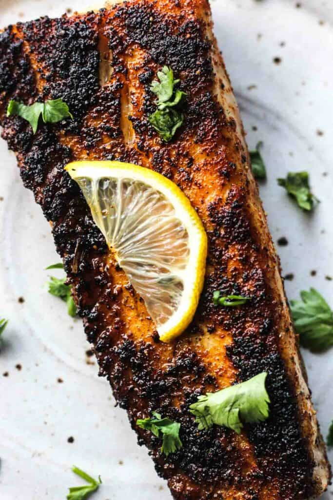 blackened fish with lemon