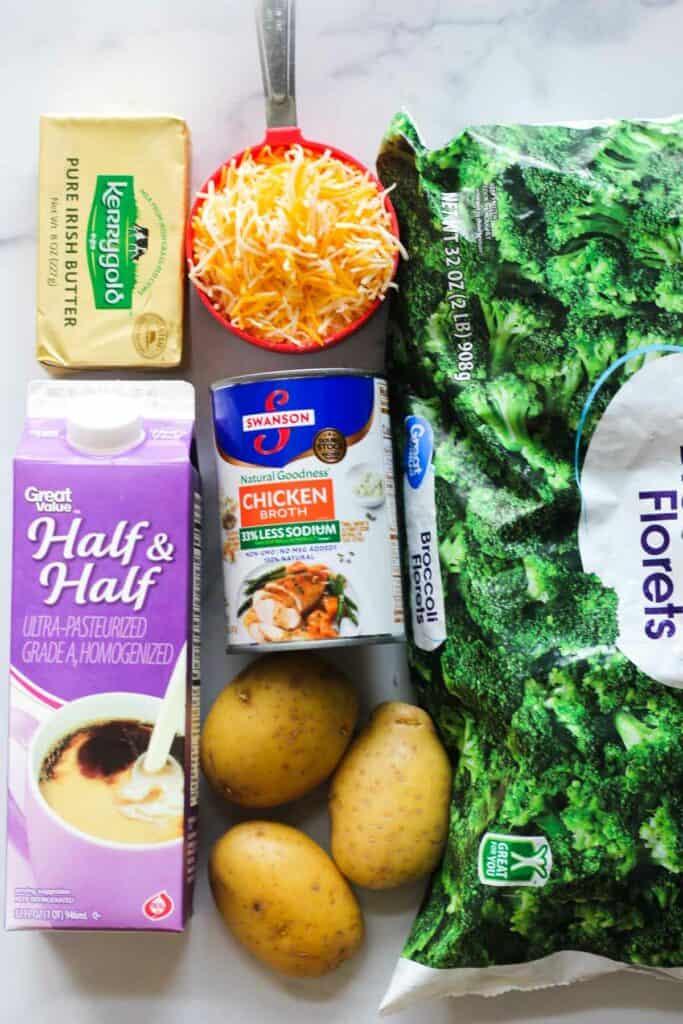 ingredients for ninja foodi broccoli cheddar soup