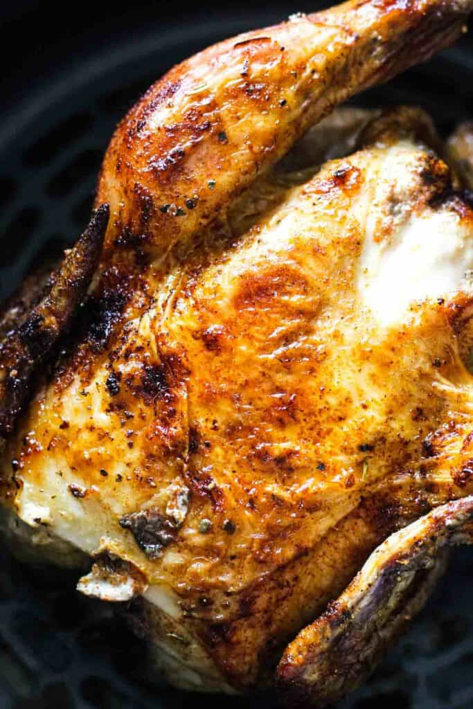 breast side up air fried game hen
