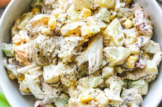 crab potato salad with corn