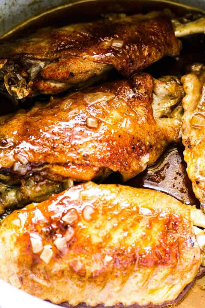 ninja foodi smothered turkey wings with gravy in a pot