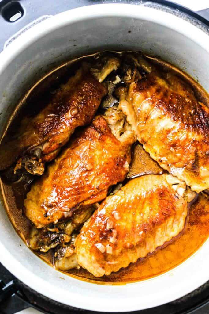 cooked ninja foodi turkey thighs top view