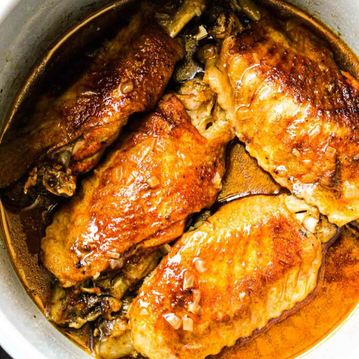 browned smothered wings cooked in pressure cooker