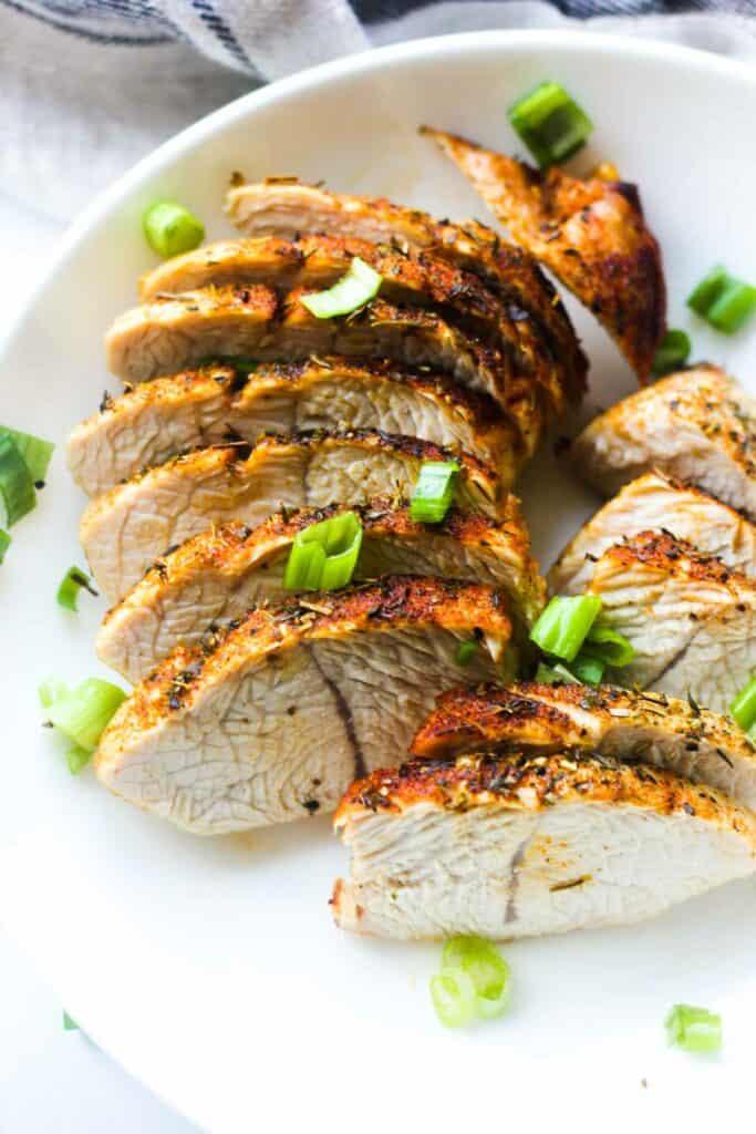 cooked ninja foodi turkey on a plate